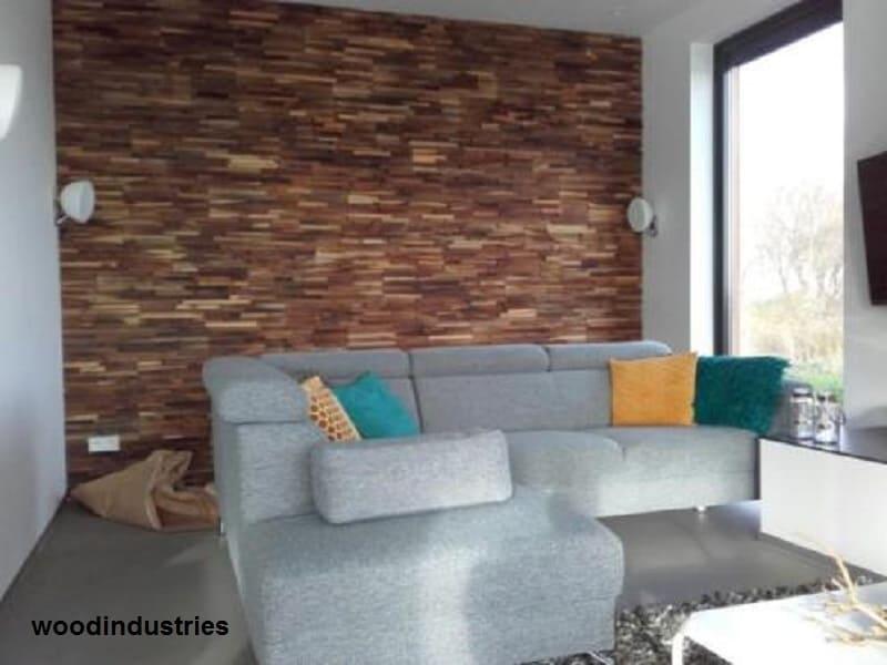 Steenstrips Keuken Wand : Een wandbekleding van Teakhouten houtstrips in uw interieur