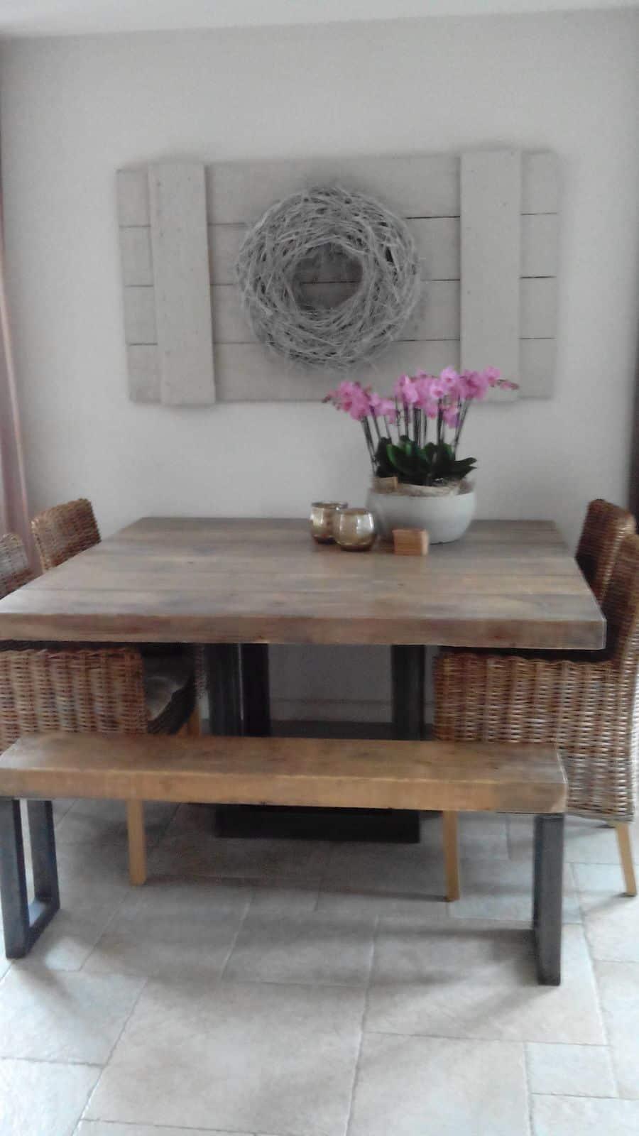 Stoere en robuuste eettafels for Vierkante tafel