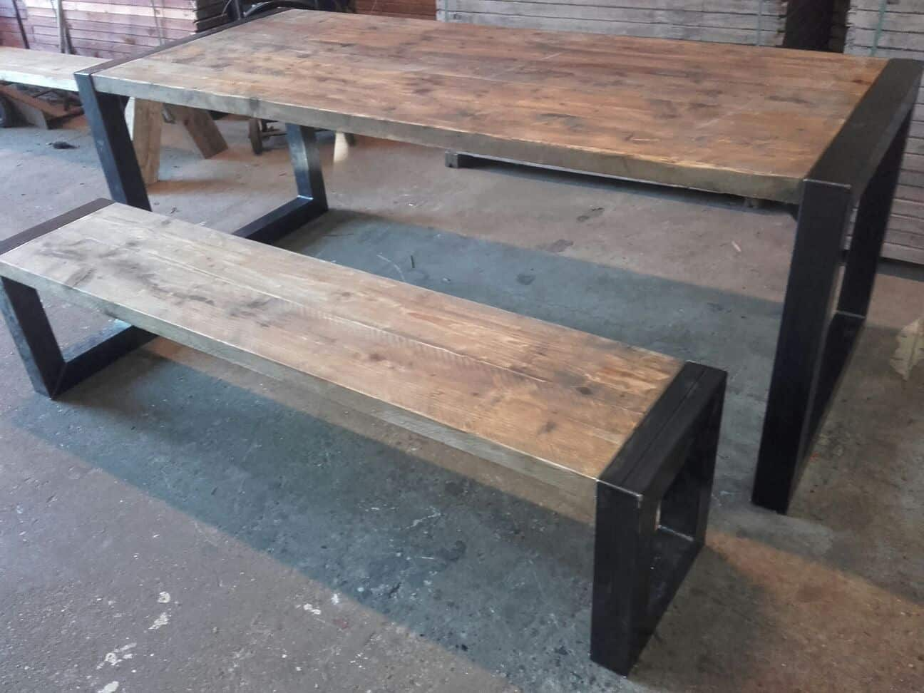 industriele robuuste eettafel roots by woodindustries