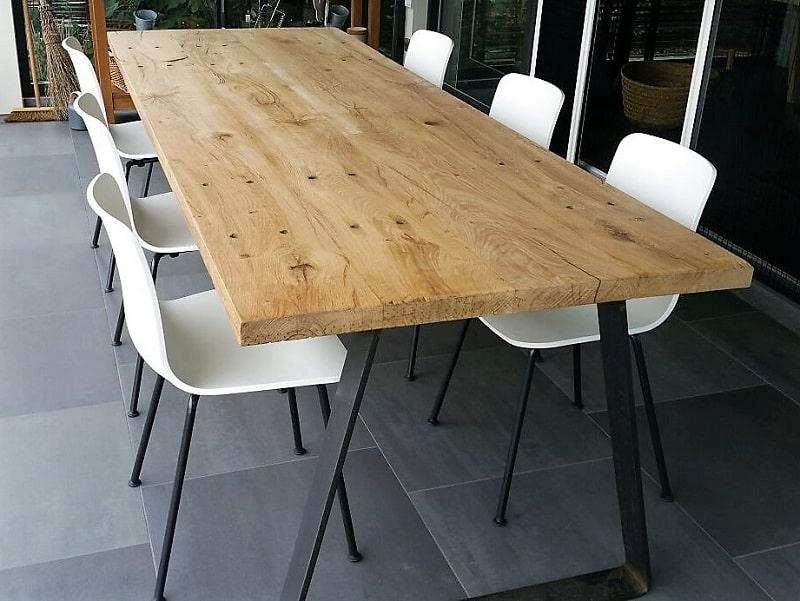 Uitzonderlijk Robuuste eiken houten eettafel Woody- je online industriële @TE39