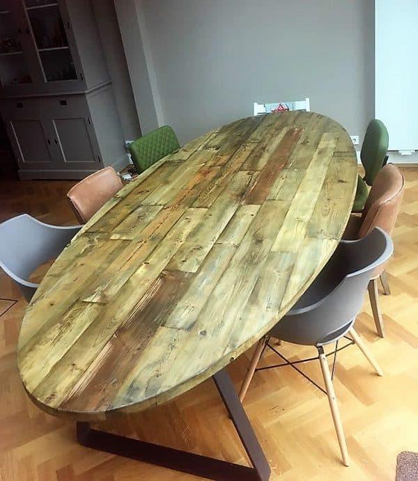 Ovale tafel reclaimed wood 400x170cm