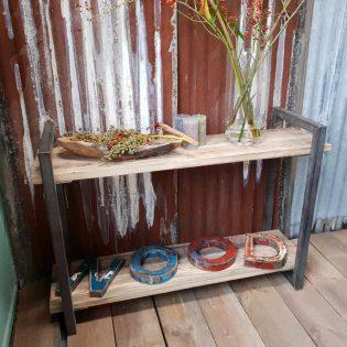 hout en staal side table wrakhouten sidetable