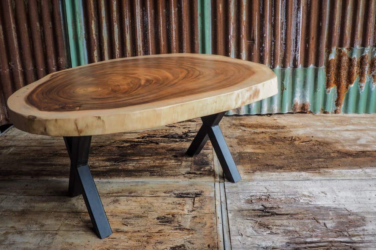 Teakhouten Boomstam Tafel.Ronde Boomstamtafel 110cm Doorsnede Woodindustries Nl