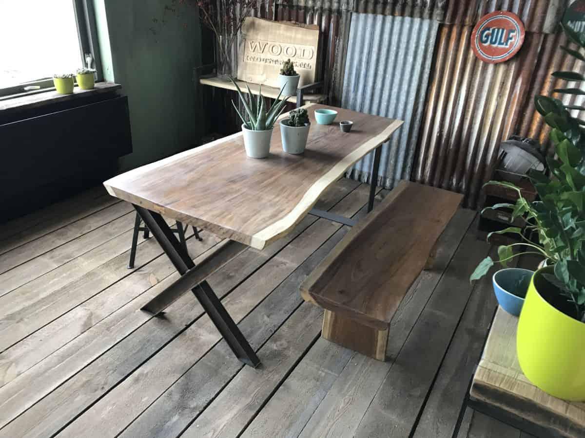 Super Teak boomstamtafel - Groningen - Woodindustries.nl voor maatwerk LU-05