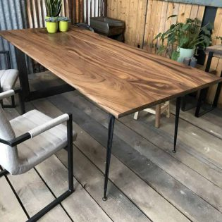 Industriële rechthoekige teak tafel - Zwolle