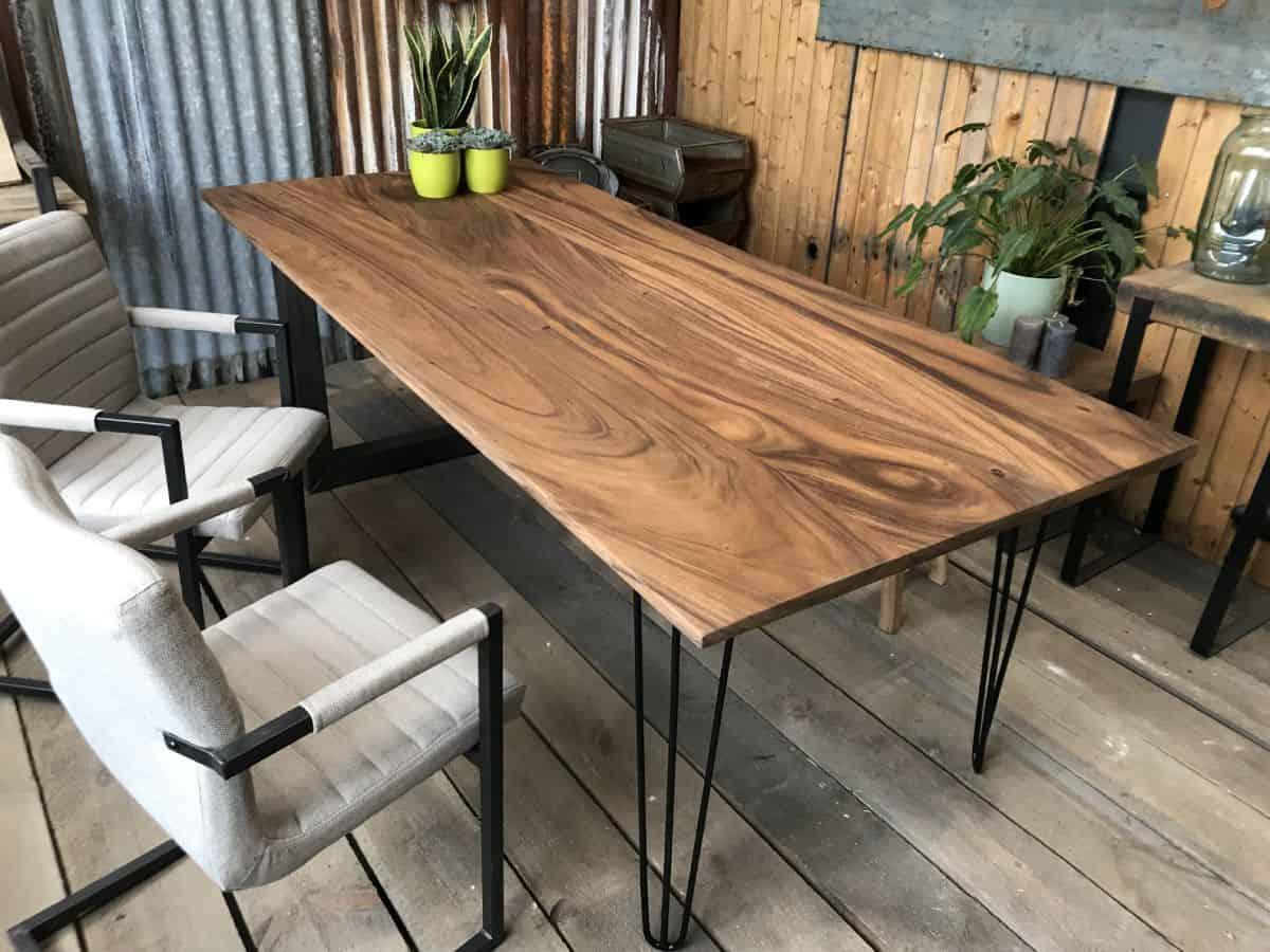 Tafel Met Hairpin Poten.Suar Boomstamtafel Eindhoven Woodindustries Nl