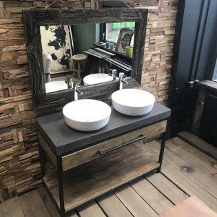 Betonnen badkamermeubel met hout