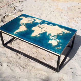 Epoxy salontafel wereldkaart