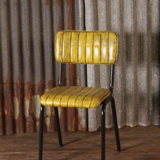 Stoere leren retro stoel Yellow