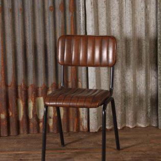 Stoere leren retro stoel