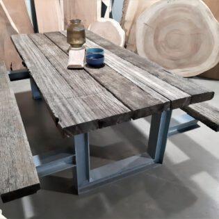 Wagonhouten draglineschot picknicktafel